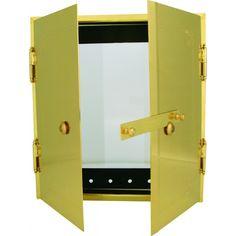 Kakelugnsram,kompl. Standard mässing med glaslucka 316×295 mm | JT Design