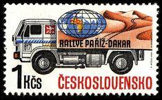 Czechoslovakia - Truck on a postage stamp. Postage Stamps, Rally, Trucks, Paris, Fiji, Czech Republic, Turban, Globe, Sport