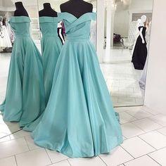 Elegant Off the shoulder Long Blue Prom Dress Evening Dress