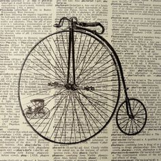 Dictionary Art Print - Upcycled Vintage Paper - Old Fashioned Bicycle Print - 7-3/4 x 10-3/4