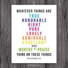 Philippians 4:8. Think on these things. San serif rainbow. Printable. – AMEN Designs