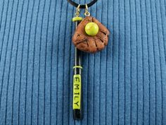 Softball Pendant Necklace Custom Name on bat 9mm by MelodyODesigns, $15.00