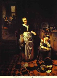 Nicolaes Maes. Interior with a Sleeping  Maid and Her Mistress (The Idle Servant). 1655