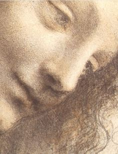 Drawing head of the virgin. Head Leonardo da Vinci