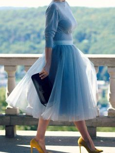 Available Sizes : Length(cm) : Waist(cm) : Type : Loose Material : Polyester Pattern : Patchwork Length Style : Knee Length Decoration : Grenadine, Pleated Color : Blue Tutu En Tulle, Blue Tulle Skirt, Tulle Skirt Dress, Long Tutu, Dance Outfits, Skirt Outfits, Work Outfits, Casual Outfits, Minnie Mouse Kostüm