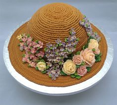 hat shaped cake for mother's day Frosting Flowers, Buttercream Flower Cake, Tea Cakes, Cupcake Cakes, Cupcakes, Gorgeous Cakes, Amazing Cakes, Gourmet Cakes, 1st Birthday Cakes