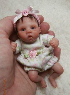 """OOAK Sculpt Baby, Polymer, Art doll, Baby 4 3/4"""". E.Townsley, Bye-Bye Babies"""
