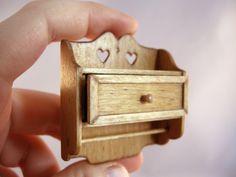 Miniature wall shelf with drawer by Emilie Viau from Creations Petitbois (QC, Canada). Wall Shelf With Drawer, Drawer Shelves, Wall Shelves, Drawers, Scale, Cufflinks, Miniatures, Canada, Accessories