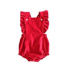 Holiday Red Velvet Reversible Butterfly Holiday Vintage Style Romper by PAUSH