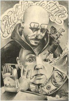 ⭐So cool stuff⭐ Chicano Art Tattoos, Chicano Drawings, Art Drawings, Lowrider Tattoo, Lowrider Art, Prison Drawings, Chicano Love, Cholo Art, Prison Art