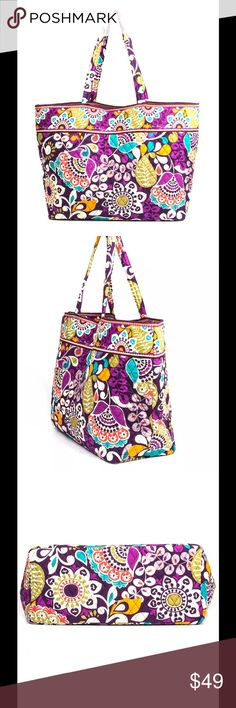 """NWT vera Bradley grand tote plum crazy Vera Bradley Grand Tote   DESCRIPTION The classic tote goes grand! With east-west styling and a very spacious interior, this is the perfect tote for a weekend getaway, a day by the pool or a trip to the beach. Inside, an inner zip pocket and key clip keep must-haves at reach. Original retail contrasting print lining  DETAILS & CARE TIPS Details Spacious interior Interior zip pocket Dimensions 17 ½"""" W x 15"""" H x 7 ½"""" D with 12"""" strap drop  Care Tips…"""