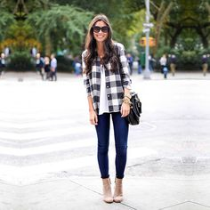 black, gray, and white checkered shirt, 7 For All Mankind jeans, booties