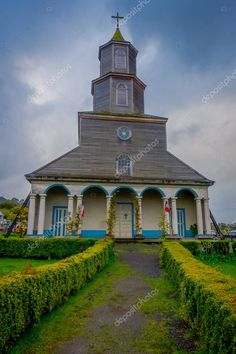 CHILOE, CHILE - SEPTEMBER, Outdoor view of historic church of Nercon, catholic temple located in the chilota commune of Castro, recognized as a World Heritage Site by Unesco World Heritage Sites, Editorial Photography, Media Marketing, Catholic, Temple, September, Social Media, Stock Photos, Mansions