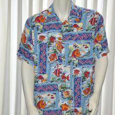 Joe Kealoha Reyn Spooner Hawaiian Shirt Vintage Mens XL Extra Large Fish