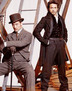 Love this photo!  BAMF Watson and Sassy (Yet Heroic) Holmes (Jude Law and Robert Downey Jr.)