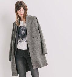Abrigo en mezcla de lana gris jaspeado medio - Promod