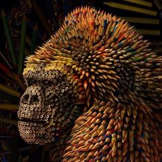 Repost via @im_gallery / @illustratedmonthly  Gorilla made from colored pencils by Ricardo Salamanca. by art_collective