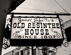 Old Absinthe House New Orleans Photography, Bar Sign Photograph, Mardi Gras French Quarter, black and white modern chic minimalist wall art Mardi Gras, New Orleans, Jean Lafitte, Absinthe, Bourbon Street, Bar Signs, French Quarter, Vintage Signs, Vintage Bar