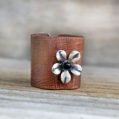 """""""Hammered Copper Ring Cigar Band Textured Metal Silver Flower Signed Artisan Jewelry"""" - Metal, in Rustic Artisan Jewelry"""