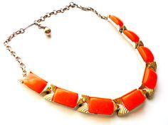Vintage Orange Thermoset Link Necklace Silver Tone by LaVieHippie