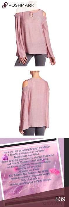 """Trumpet Sleeve Cold Shoulder Top NWOT Pleione size XL=16/18 sleeve cold shoulder top. Color looks like a soft berry pinkish plum, actually is very fine red wine and white striping that produces this color. Color called Red Ticking Bust is approx 24"""" Pleione Tops"""