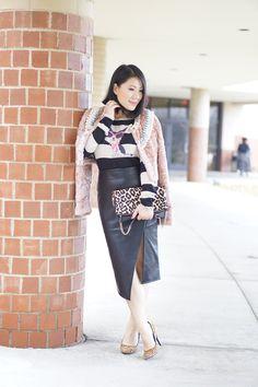 petite fashion winter street style pink fur jeweled jacket+cat print sweater+black pencil skirt+nine west leopard pumps+ Express leopard clutch