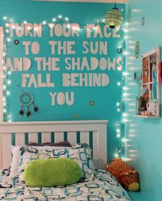 Tumblr Teenage Bedroom | room bedroom teenager room wall quote bedroom quote quote lights -find a cute quote from books or use some lyrics of a song -cut letters out of paper/magazines -put on wall -hang some lights around it