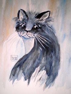 Aquarell Tattoos, Animals, Art, Watercolor, Cats, Painting Art, Animales, Tatuajes, Animaux