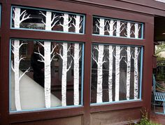 Birch tree on window Vintage Windows, Old Windows, Library Displays, Store Displays, Window Displays, Old Window Projects, Window Art, Window Ideas, Window Graphics
