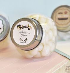 Vintage Style Candy Jars with Personalized Labels DIY Wedding Favors (100) on Etsy, $117.00