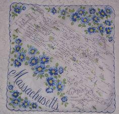 Massachusetts state map + blue mayflowers [handkerchief / scarf]