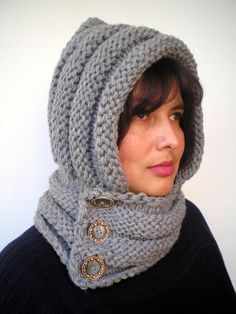 Items similar to Eternity Grey Color Hoodie Mixed Wool Yarn Hood Woman Chunky Hooded Cowl NEW on Etsy Baby Hats Knitting, Loom Knitting, Knitting Patterns Free, Hand Knitting, Knitted Hats, Crochet Patterns, Crochet Beanie, Knit Crochet, Crochet Hats
