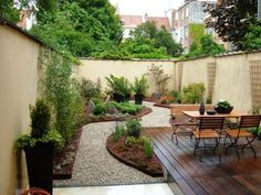 terrasse en longueur Large Backyard Landscaping, Small Backyard Design, Backyard Patio Designs, Garden Design, Landscaping Ideas, Backyard Ideas, Patio Ideas, Small City Garden, Garden Spaces
