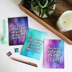 Dream Postcard Pack - Set of 6 Pop Collection, Happy Mail, Brush Lettering, Super Excited, Design Quotes, Brighten Your Day, Dream Big, New Product, Watercolour
