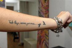 Frase: Todo fluye, vamos por más y Aves volando