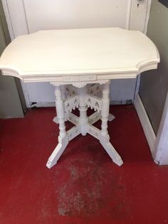 Jacques and Hayes style table painted in pure white Annie Sloan chalk paint™ lightly distressed. Pure White, Annie Sloan, Toilet Paper, Pure Products, Table, Painting, Vintage, Painting Art, Mesas