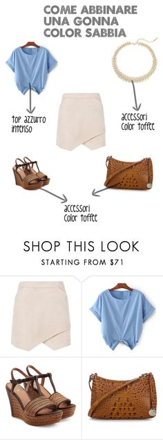 beige skirt by stylosenoi on Polyvore featuring moda, BCBGMAXAZRIA, UGG Australia, Brahmin and Saks Fifth Avenue