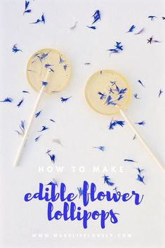How to make gorgeous edible flower lollipops in just a few minutes! Perfect for parties, weddings, bridal showers, and more. Party Desserts, Party Cakes, Lollipop Cake, Lollipop Sticks, Gourmet Lollipops, Baking Apron, Easy Party Food, Glass Candy, Small Bottles