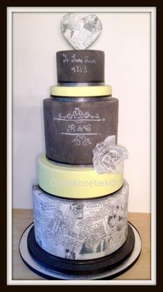 Newspaper wedding cake