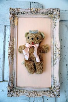 Antique stuffed teddy bear in hand painted pinky peach and gold frame shabby cottage chic wall hanging - Anita Spero Design