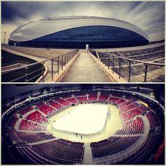 An interior and exterior of the @Mary Sochi Bolshoi Ice Dome, the ice hockey venue