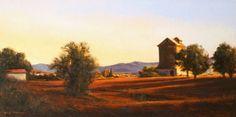 """""""Tierra Roja"""" l 10x20 l Dix Baines I Fine Artist l Original Oil Paintings I Spain l Europe l Landscape l Red l Farm l www.dixbaines.com"""