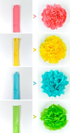 Crafts Tissue paper flowers make a gorgeous event decor with a big impact—think weddings, baby showers, bridal showers and more! Learn how to make easy tissue paper flowers, as well as different methods for cutting the petals to create four unique styles. Tissue Paper Crafts, Paper Flowers Craft, Flower Crafts, Diy Flowers, Tissue Paper Decorations, Tissue Paper Flowers Easy, Paper Paper, Tissue Paper Pom Poms Diy, How To Make Paper Flowers