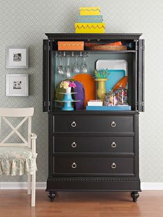 Revamp and customize a sturdy armoire! It's a great place to keep delicate items safe and easily accessible. More Armoire Ideas: http://www.bhg.com/decorating/storage/projects/revamped-armoires-for-small-space-storage/#page=3