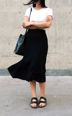white cuffed top + black long skirt & sandals