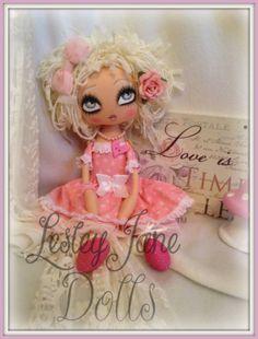 Florence Fineheart Pink Shabby Chic Cloth Art  by lesleyjanedolls