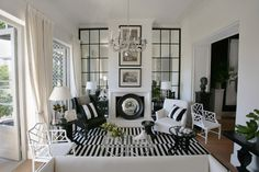 Black and White living decorating before and after room design home design house design Black And White Living Room, Black And White Interior, Black White, White Rooms, Black Trim, Black Rooms, Living Room Designs, Living Room Decor, Living Spaces