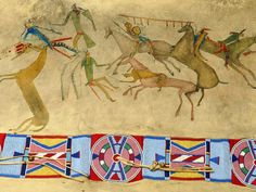 Crow buffalo robe with blanket strip and warrior exploit drawings, detail