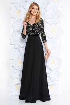 """StarShinerS black occasional dress voile fabric with inside lining with net accessory embroidered, net accessory, inside lining, flaring cut, """"V"""" cleavage, embroidery details, 3/4 sleeves, voile fabric, thin fabric, back zipper fastening"""
