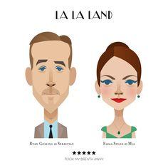 La La land starring Ryan Gosling and Emma Stone by Stanley Chow Stanley Chow, Fanart, Alternative Art, Emma Stone, Flat Illustration, Illustrations, Ryan Gosling, Film Review, Chow Chow